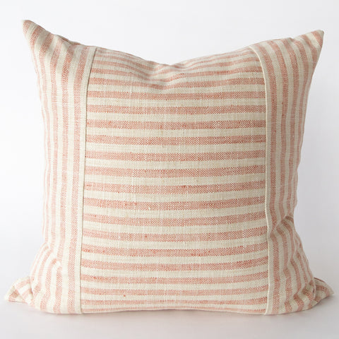 Striped pink and cream Margaux pillow with brass zipper from Tonic Living