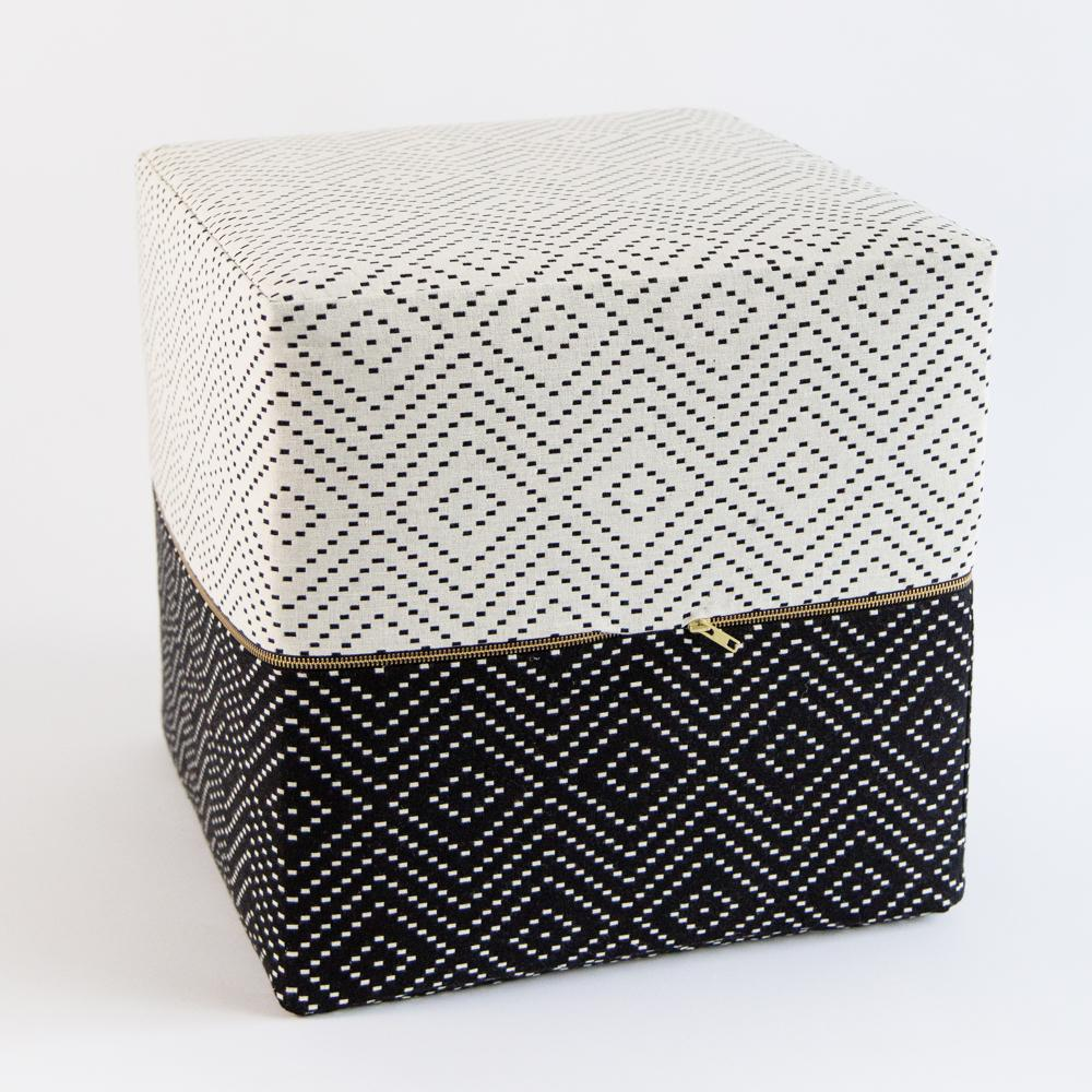 Ava Cube Ottoman, a graphic black and white cube ottoman from Tonic Living