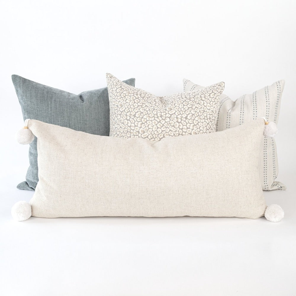 Adelaide oatmeal linen extra long lumbar with pom poms from tonic living