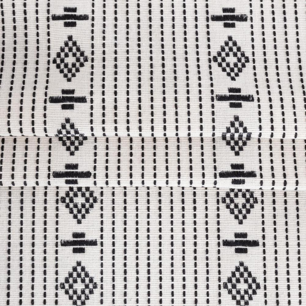 Audrey, a black on ivory woven motif stripe cotton fabric from Tonic Living