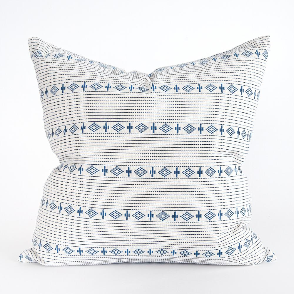 Audrey Indigo, a white and blue pattern stripe pillow from Tonic Living