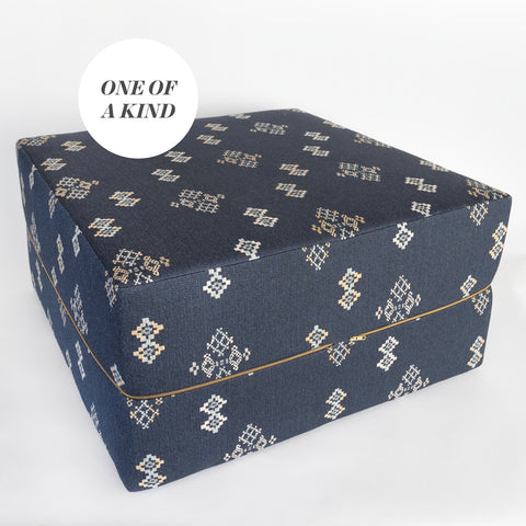 Austin Cube Large Ottoman, Indigo, a southwestern blue fabric large ottoman from Tonic Living