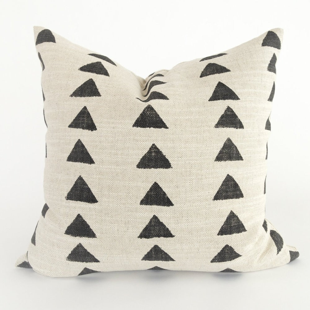 Bedouin Pillow, Block Print black triangle block print from Tonic Living