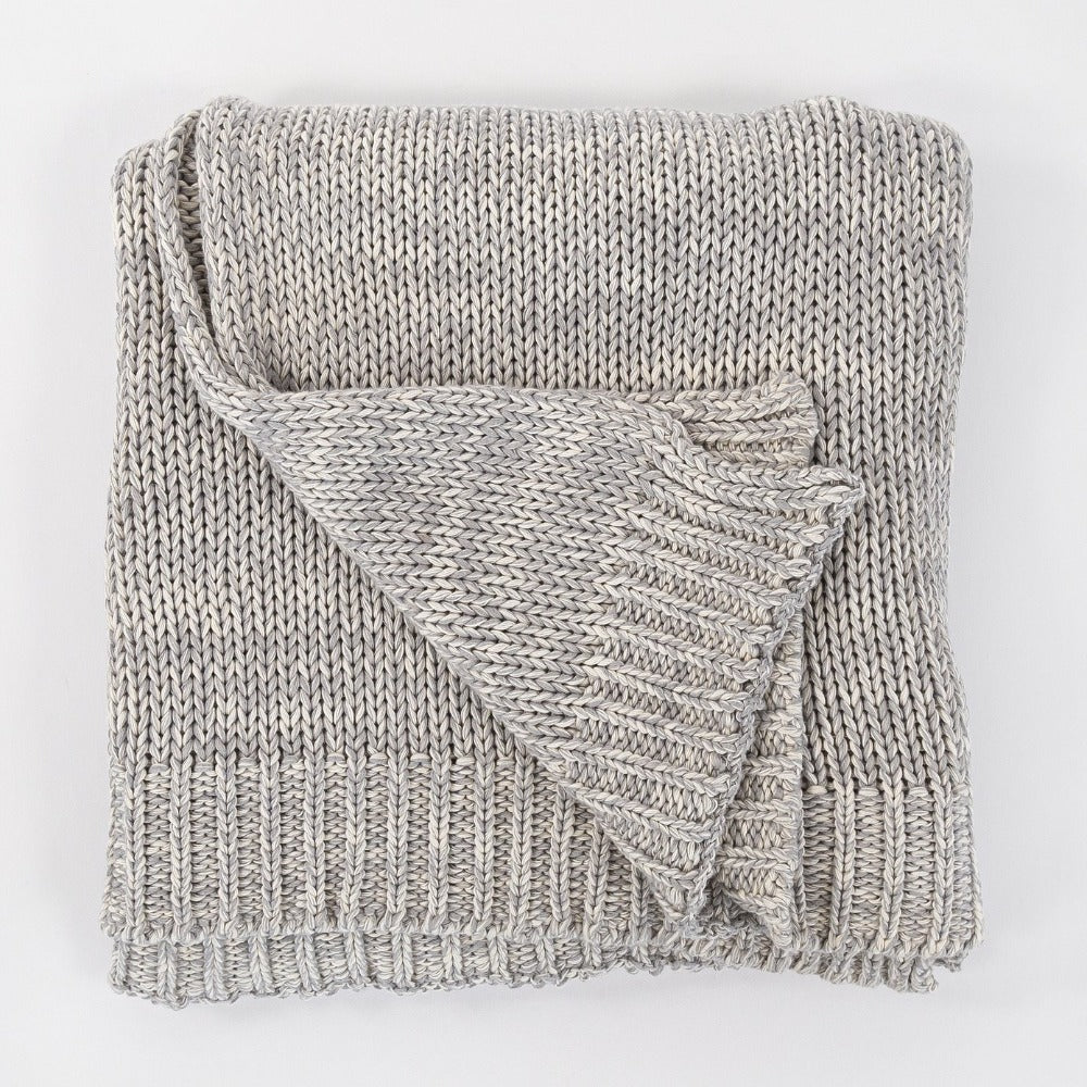 Billie Knit Throw, Heathered Grey, a cream and grey sweater knit throw blanket from Tonic Living