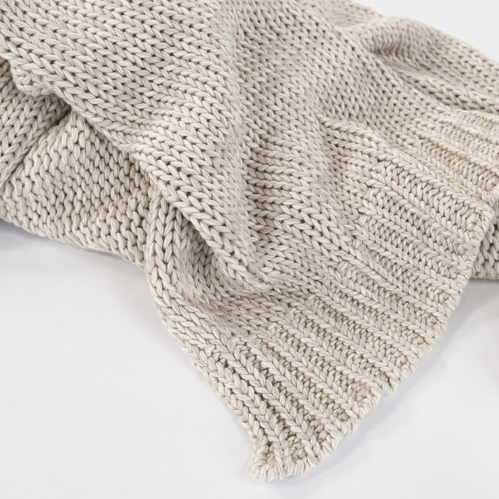 Billie Knit Throw, Oatmeal, a beige sweater knit throw blanket from Tonic Living