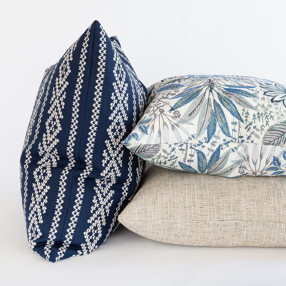 Blue white and beige pillow combo from Tonic Living