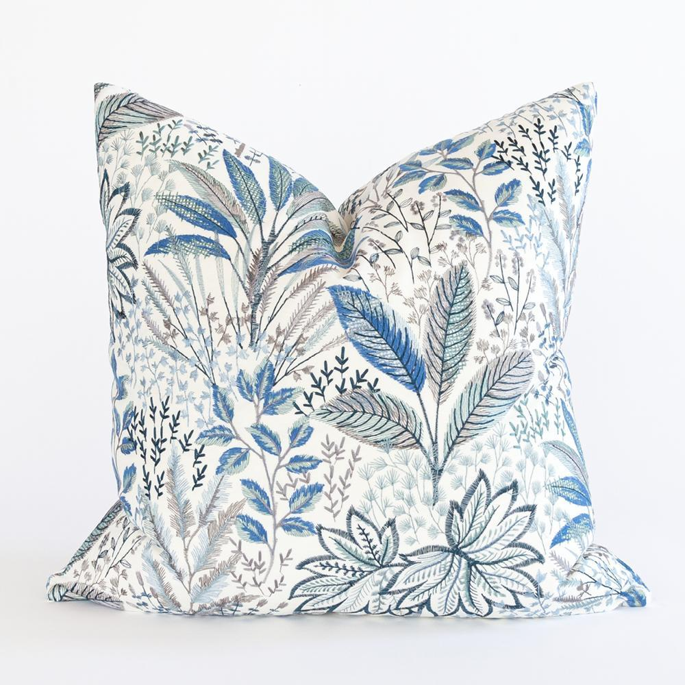 Blythe blue embroidered floral pillow from Tonic Living