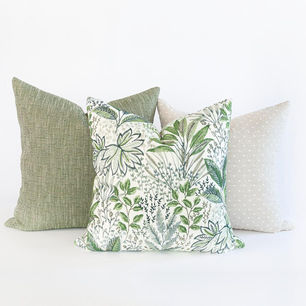 Green and beige pillow combo from Tonic Living