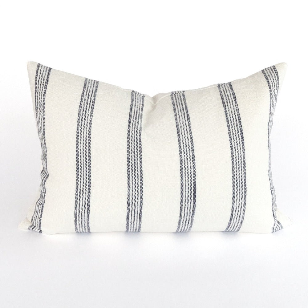 Bridgewater Lumbar Pillow, Navy and white stripes at Tonic Living