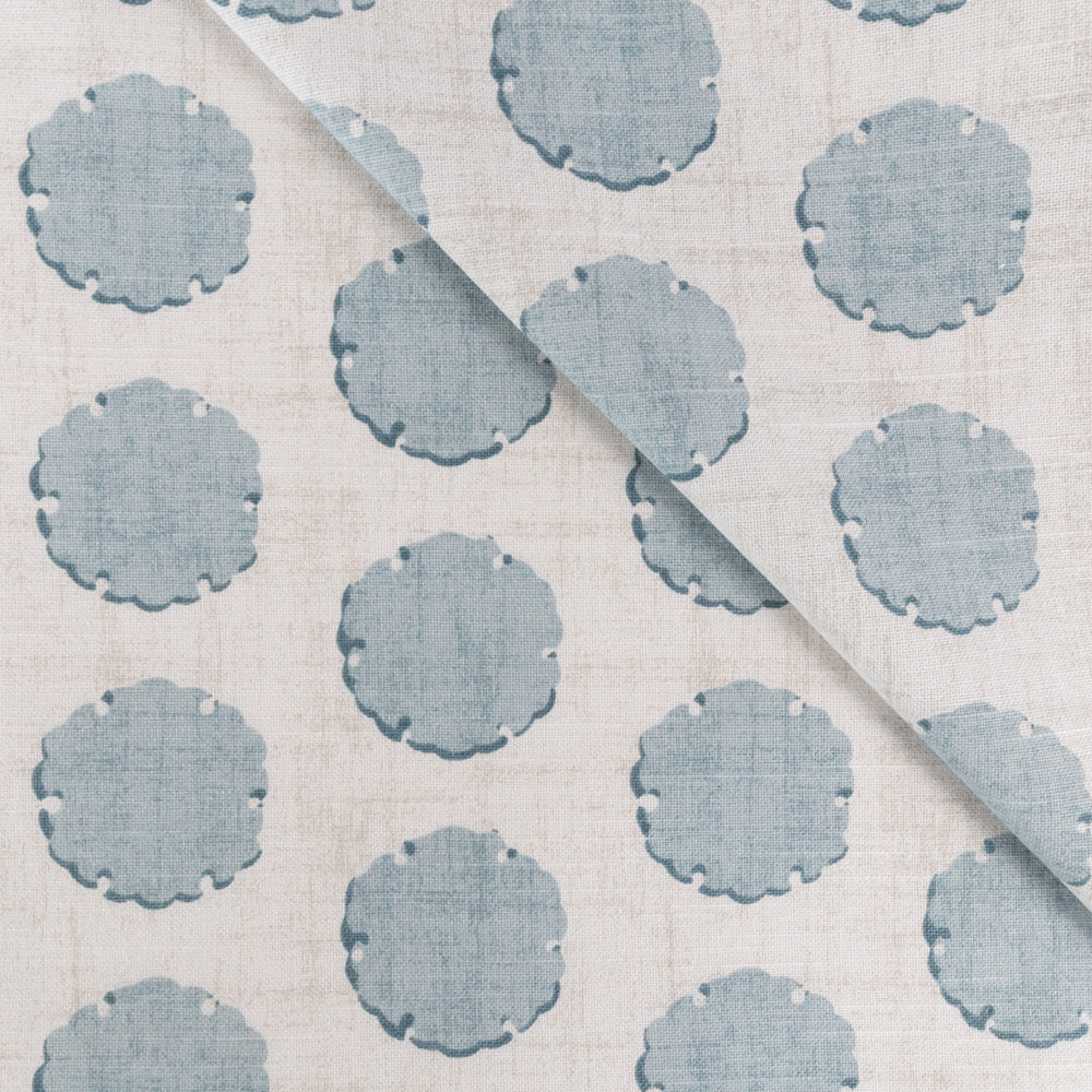 Nate Stonewash Blue, a watery blue scallop edge dot print from Tonic Living