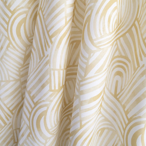 Capri Fabric, Honey, a yellow, painterly swirl pattern from Tonic Living