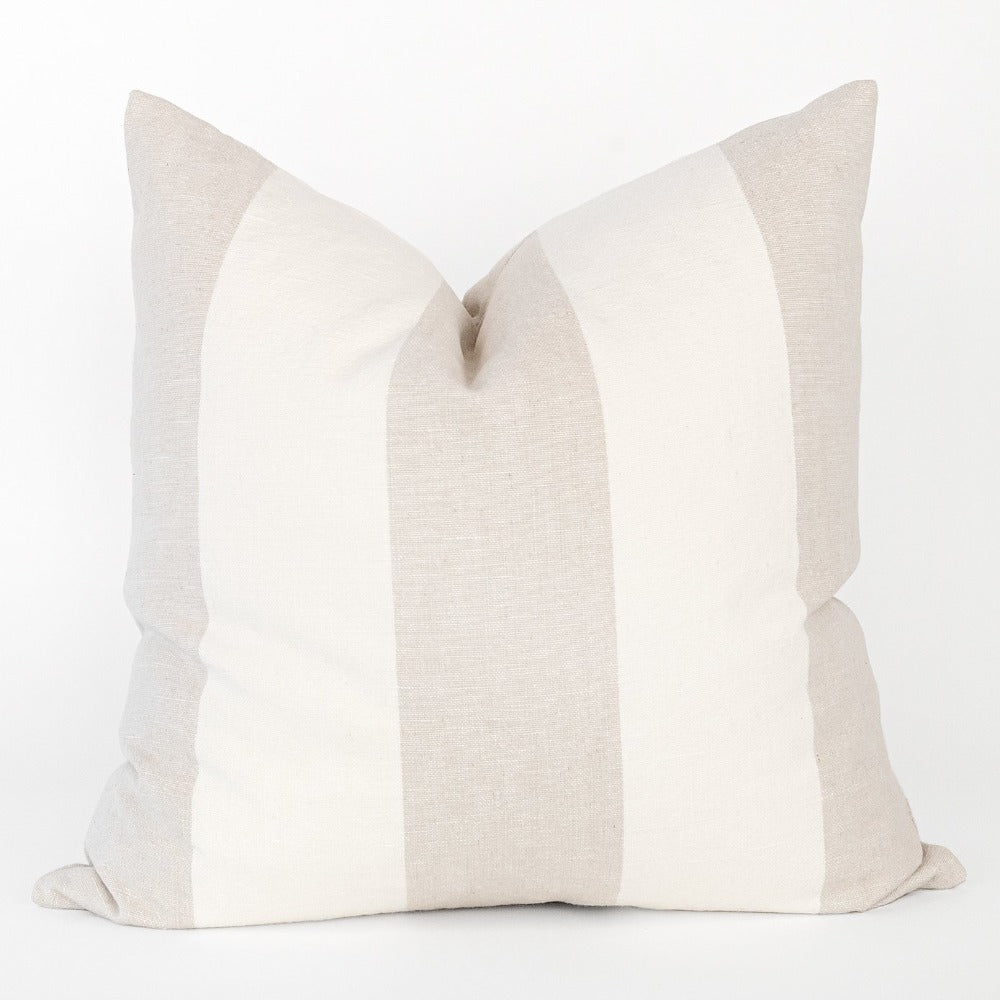 Charlie stripe beige linen cotton pillow from Tonic Living