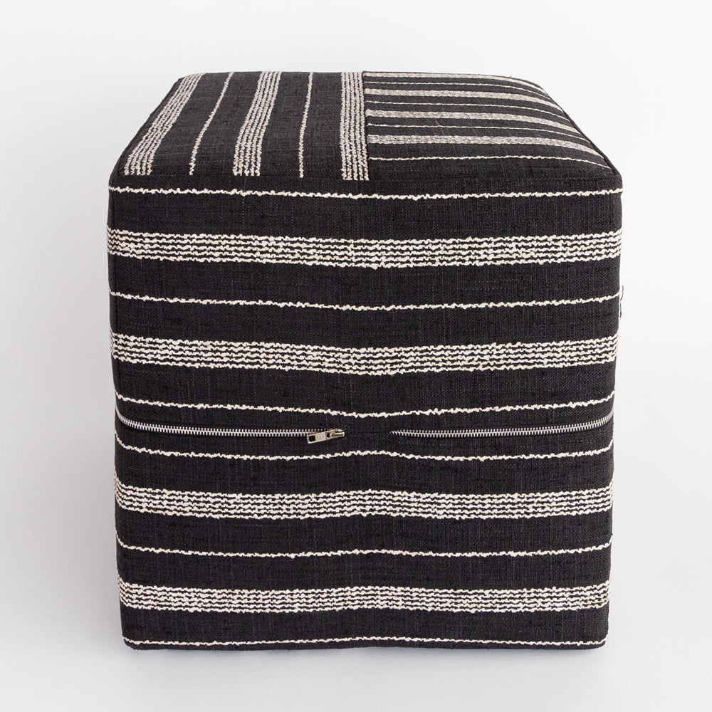 Cluny, a black and white stripe cube ottoman from Tonic Living