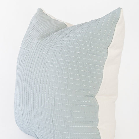 Colcha Pillow, a quilted mist blue and white Ellen Degeneres fabric pillow from Tonic Living