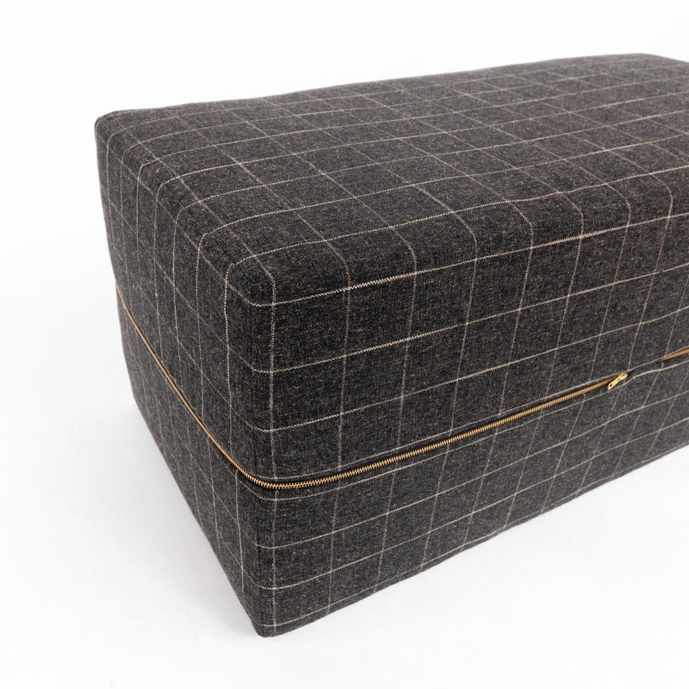Dundee Ottoman Bench, Sable, a charcoal gray with cream windowpane grid ottoman from Tonic Living