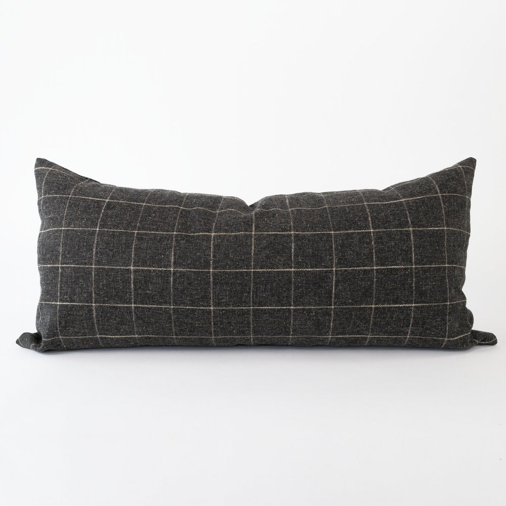 Dundee Fabric, Sable, a cream grid on dark gray extra long pillow from Tonic Living