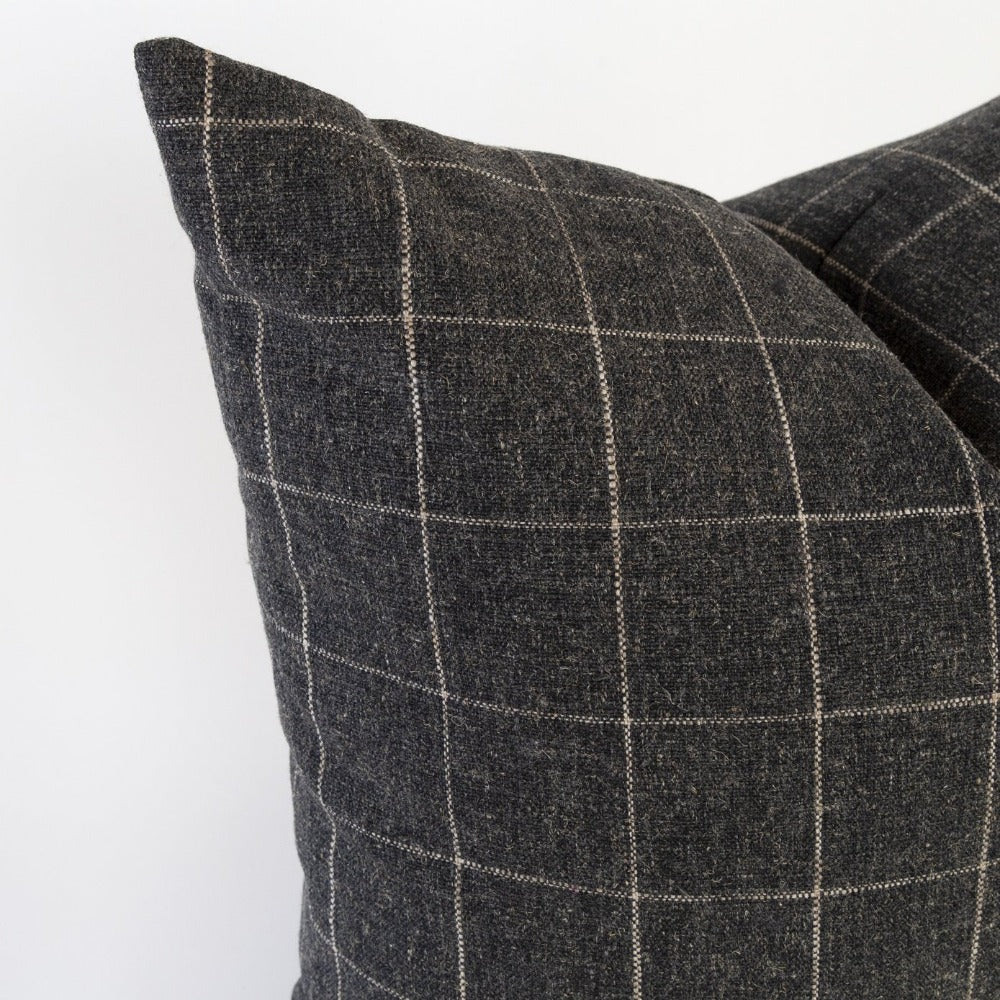 Dundee Fabric, Sable, a cream grid on dark gray ground pillow from Tonic Living