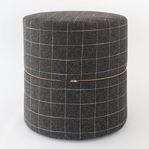 Dundee Round Ottoman, Sable, a charcoal gray with cream windowpane grid round ottoman from Tonic Living