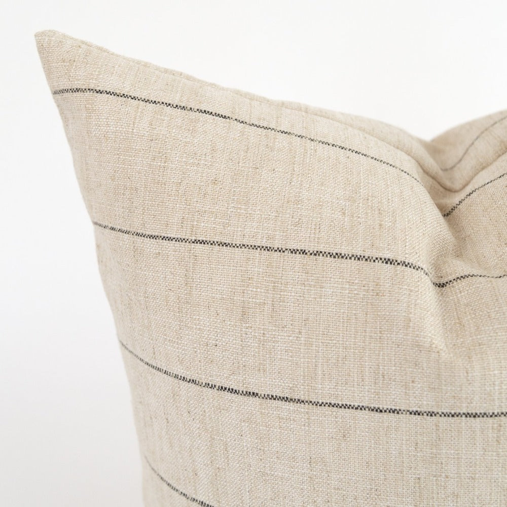 Dunrobin Stripe Pillow, Burlap, a cream with black stripe pillow from Tonic Living
