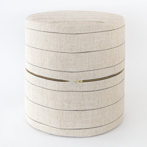 Dunrobin Round Ottoman Stool, Burlap, a beige with black stripe round ottoman stool at Tonic Living