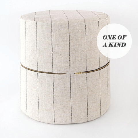 Dunrobin Round Ottoman Stool, Burlap, one of a kind from Tonic Living