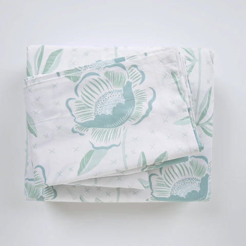 Duvet Cover Set - Block Print Peony Jade - tonic-living-usd
