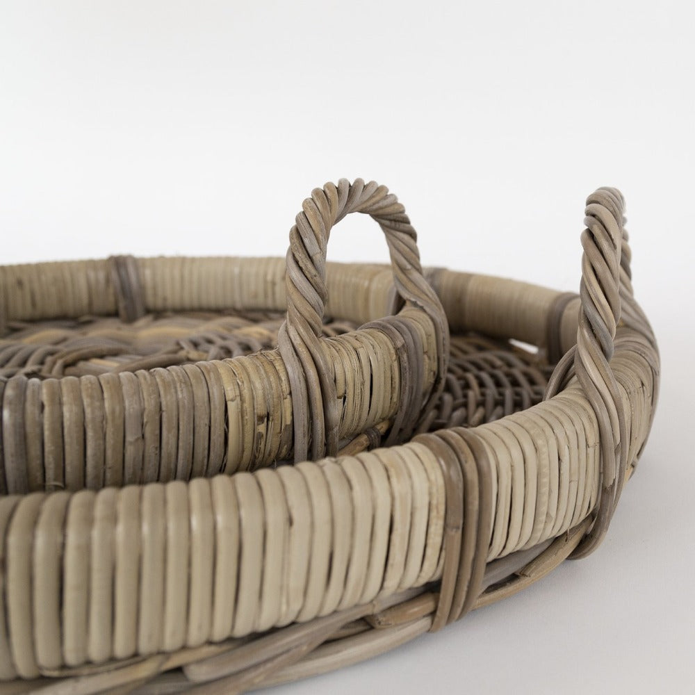 Easton, sturdy roll rim wicker trays from Tonic Living