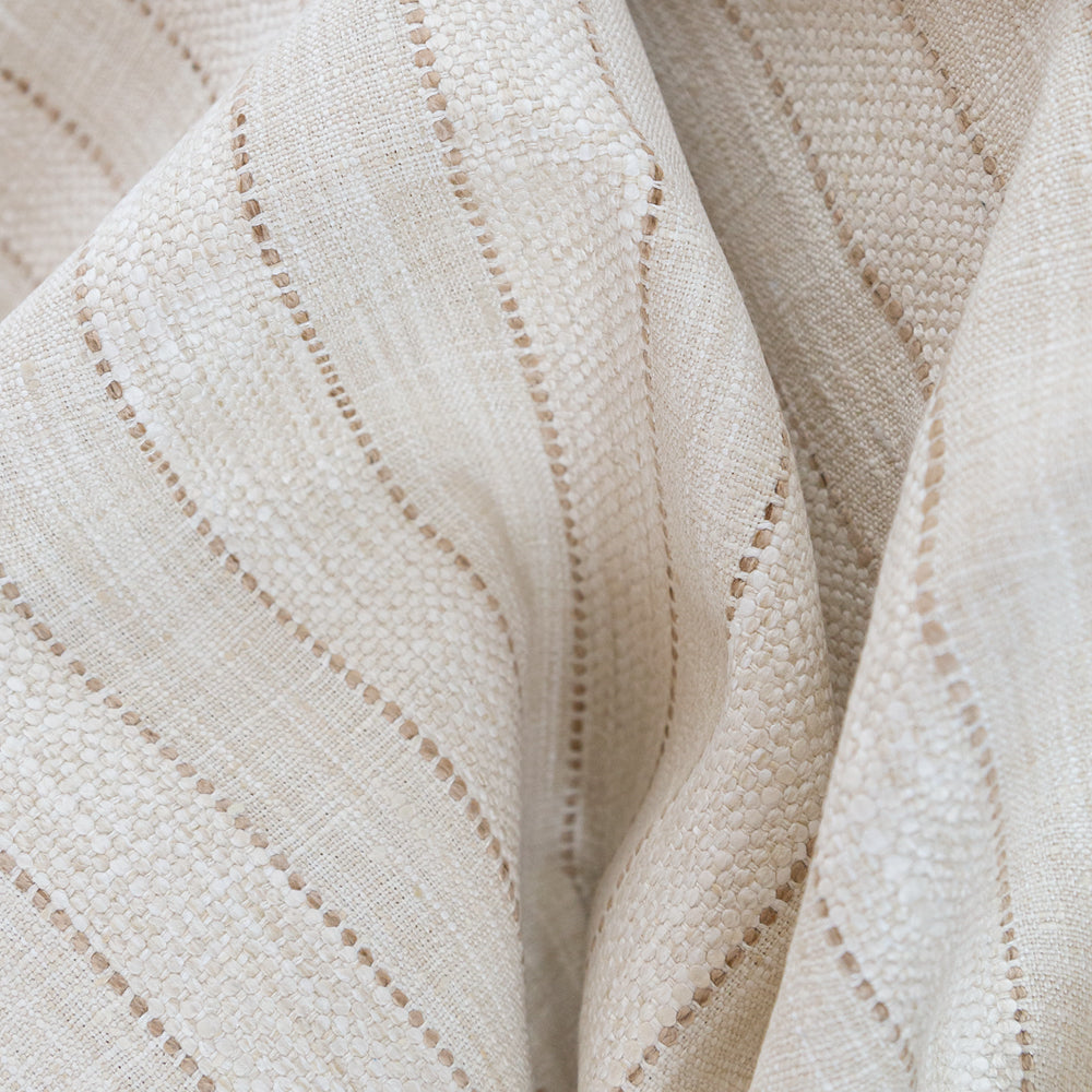Elgin Stripe, Sand a beige textured weave stripe fabric from Tonic Living