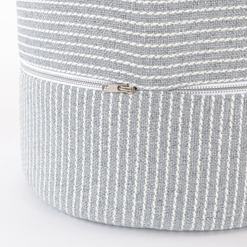 Elmira Mini Round Ottoman stool, Smoke Blue, a blue gray with cream stripe high performance fabric mini ottoman from Tonic Living