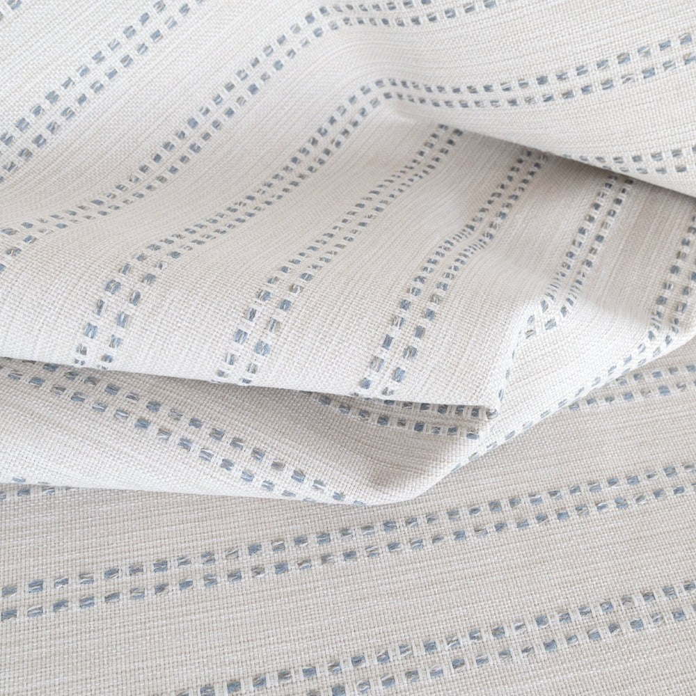 Elodie Stripe, Sky cream and blue gray stripe high performance fabric from Tonic Living