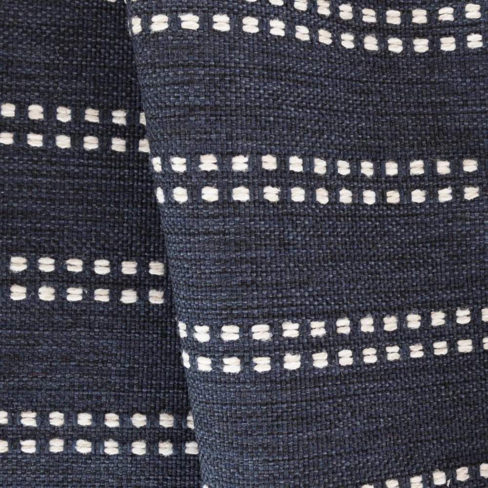 Elodie Stripe, Indigo, dark blue with ivory stripe high performance fabric from Tonic Living