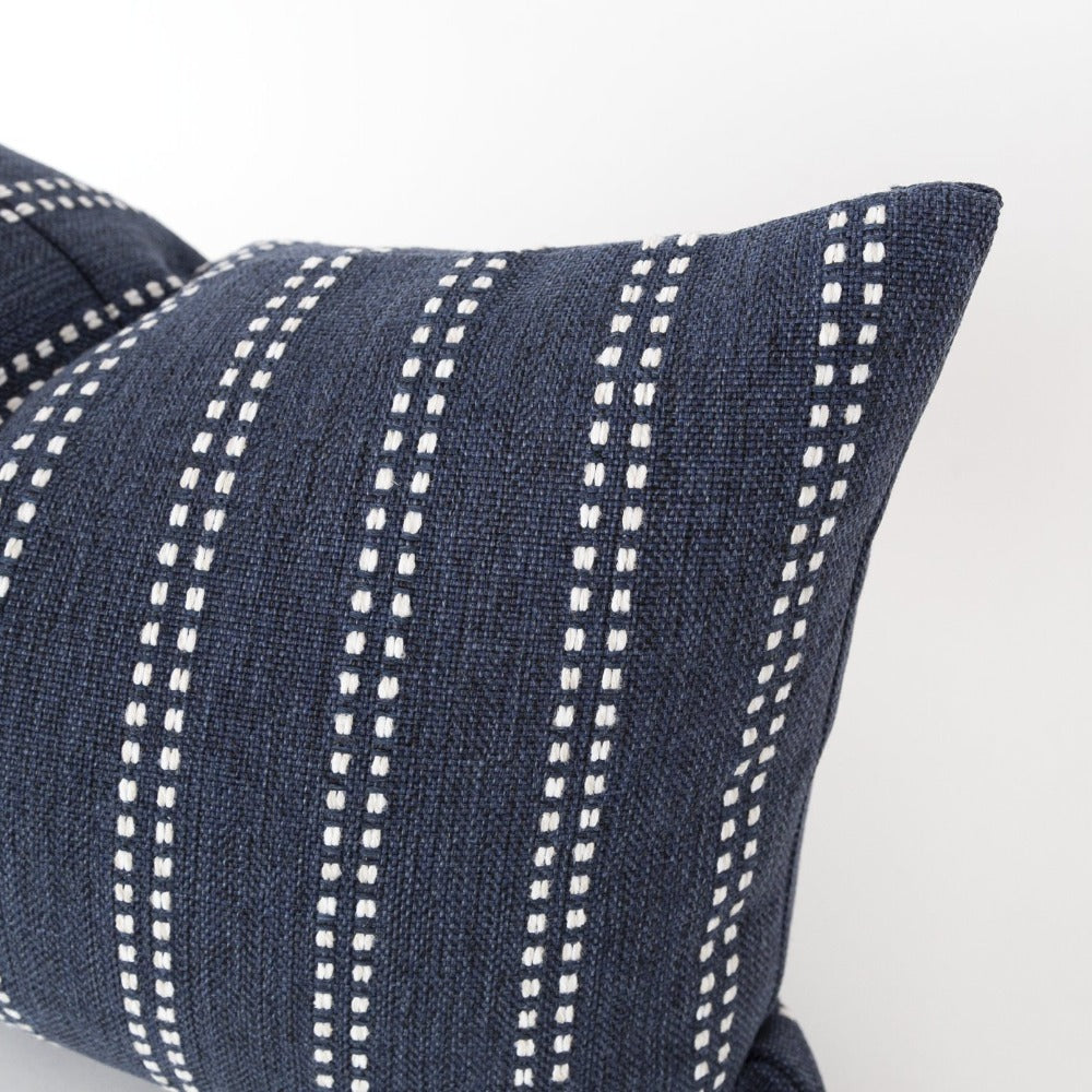 Elodie Stripe Lumbar Pillow, Indigo a navy with ivory stripe high performance pillow from Tonic Living