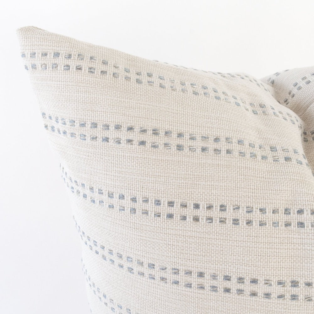 Elodie off white  and sky blue stripe pillow detail