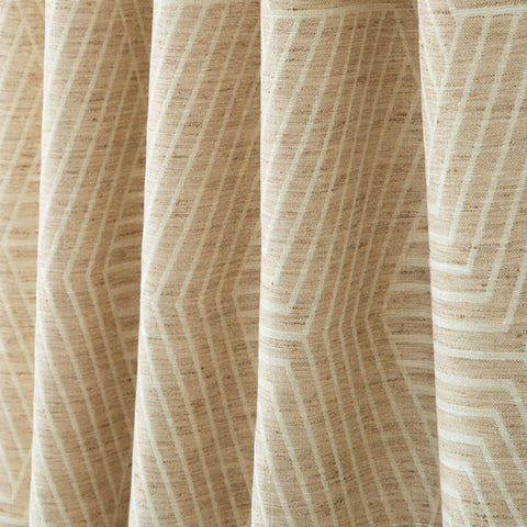 Evora, Sand - A neutral patterned, two-tone geometric fabric in cream and sand - Tonic Living