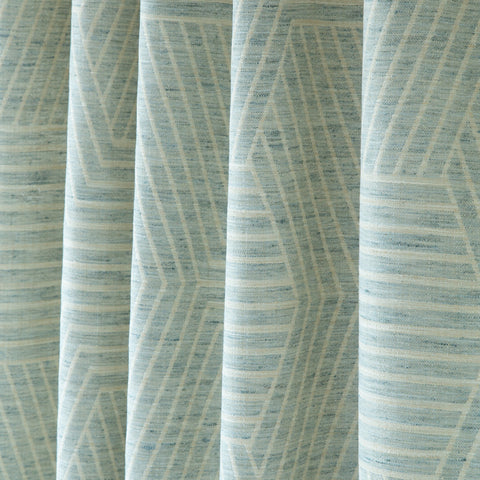 Evora, Sea - A subtle patterned, two-tone geometric fabric in cream and sea glass blue - Tonic Living