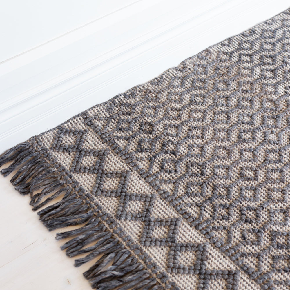 Eyre Coal gray and taupe chunky patterned rug at Tonic Living