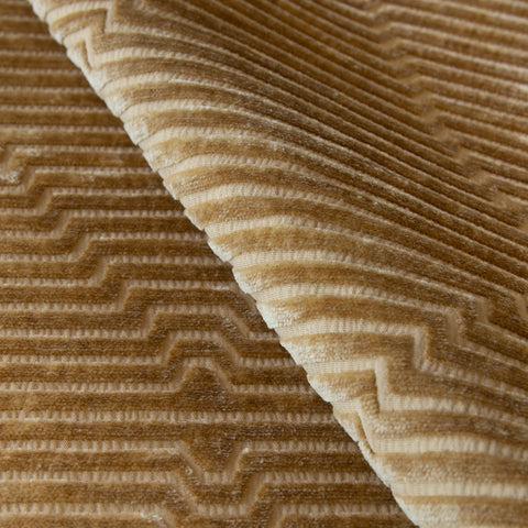 Fitzgerald, Gold Dust - A warm, gold velvet fabric with a lush hand but sharp design - Tonic Living