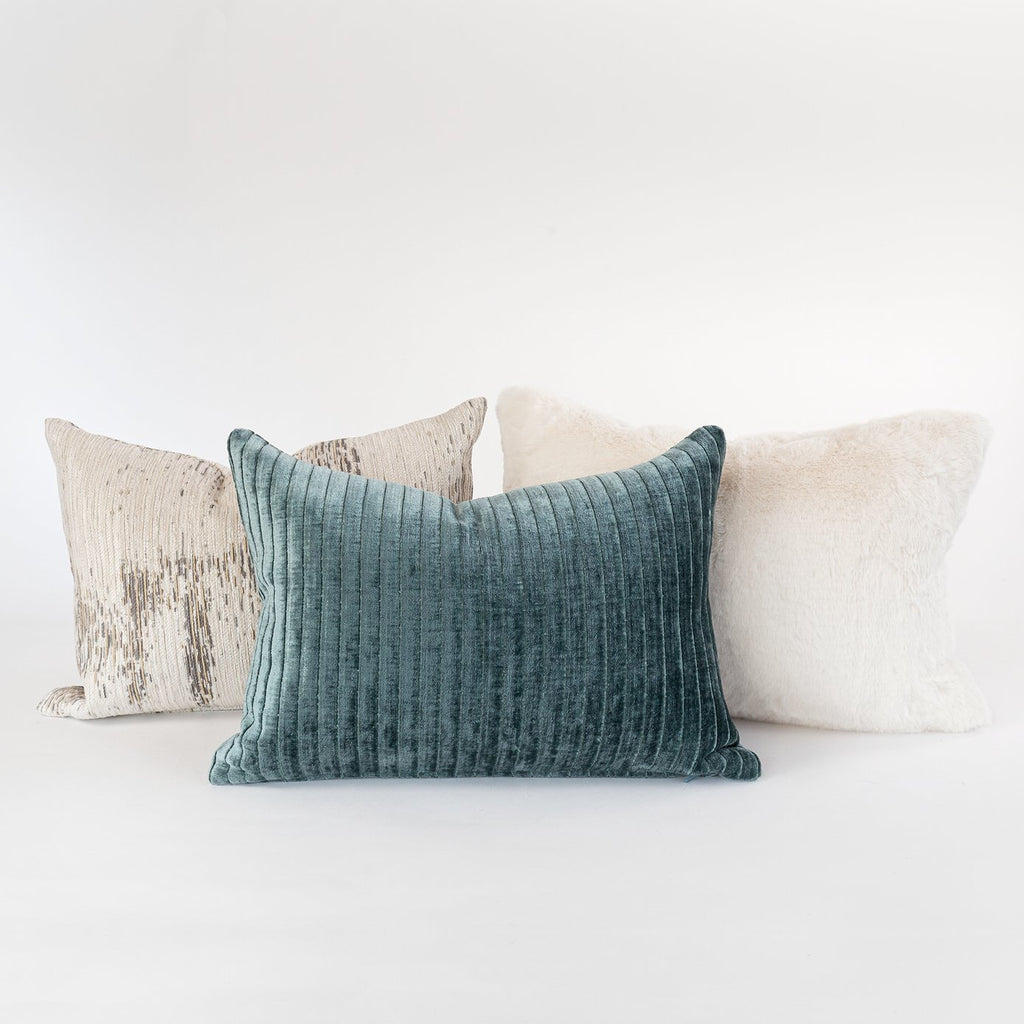 Iona Spruce mini velvet lumbar pillow from Tonic Living