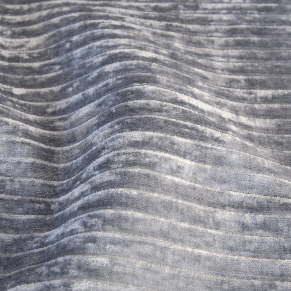 Iona Channel Velvet, Blue Smoke, a blue gray horizontal stripe plush velvet from Tonic Living