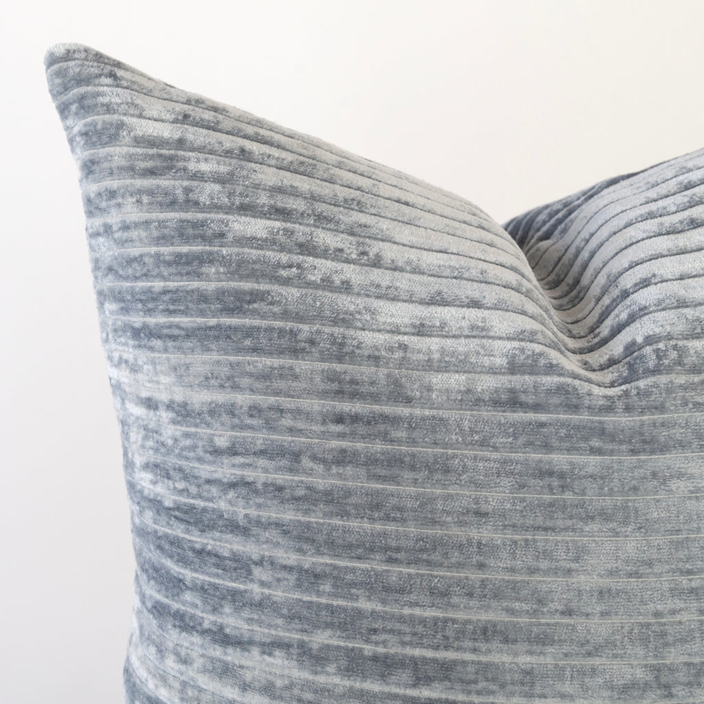 Iona Channel Velvet, Blue Smoke, a blue grey horizontal stripe plush pillow from Tonic Living