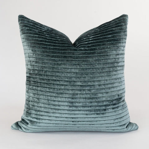 Iona, Spruce, green channel velvet pillow from Tonic Living
