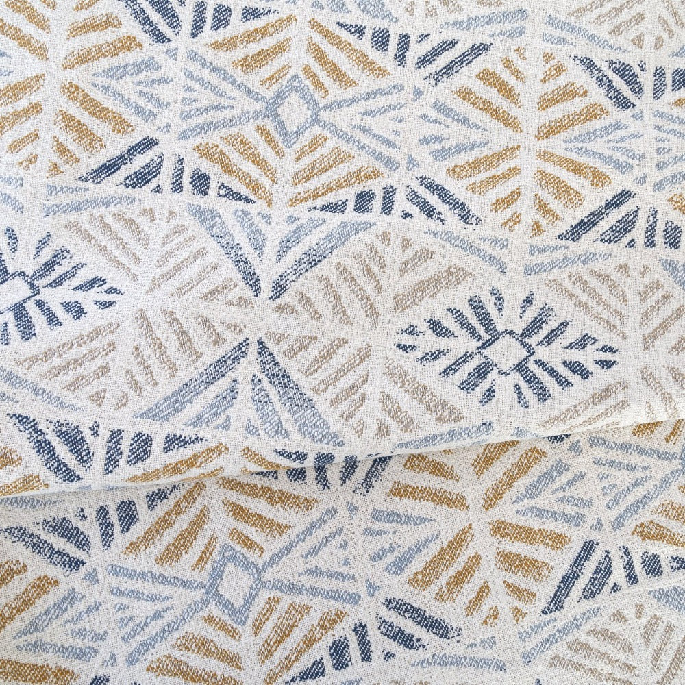 Isla Fabric, Laguna blue and gold Aztec pattern fabric from Tonic Living