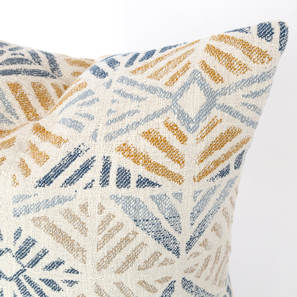 Isla Pillow, Laguna, a gold and blue geometric tile pattern pillow from Tonic Living