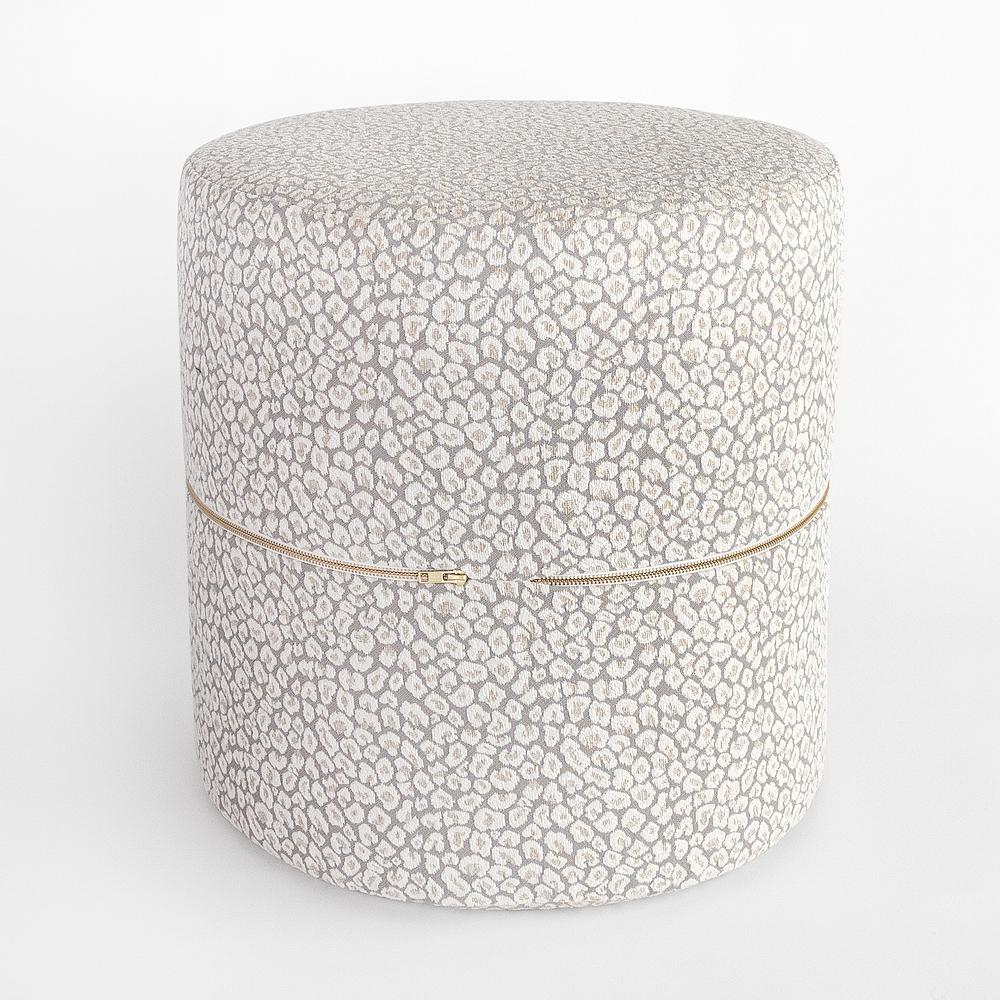 Jackie snow leopard round ottoman stool from Tonic Living