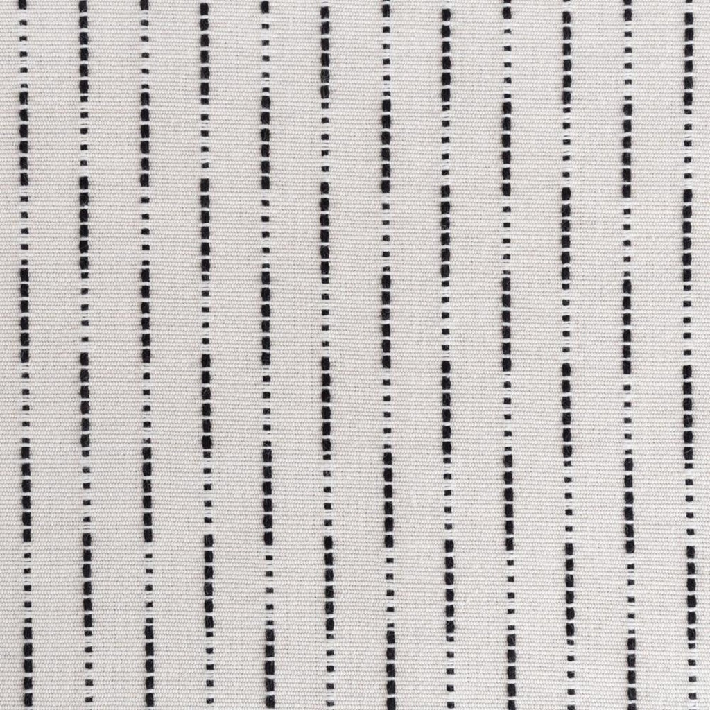 Judy, a black dot dash woven stripe on ivory fabric from Tonic Living