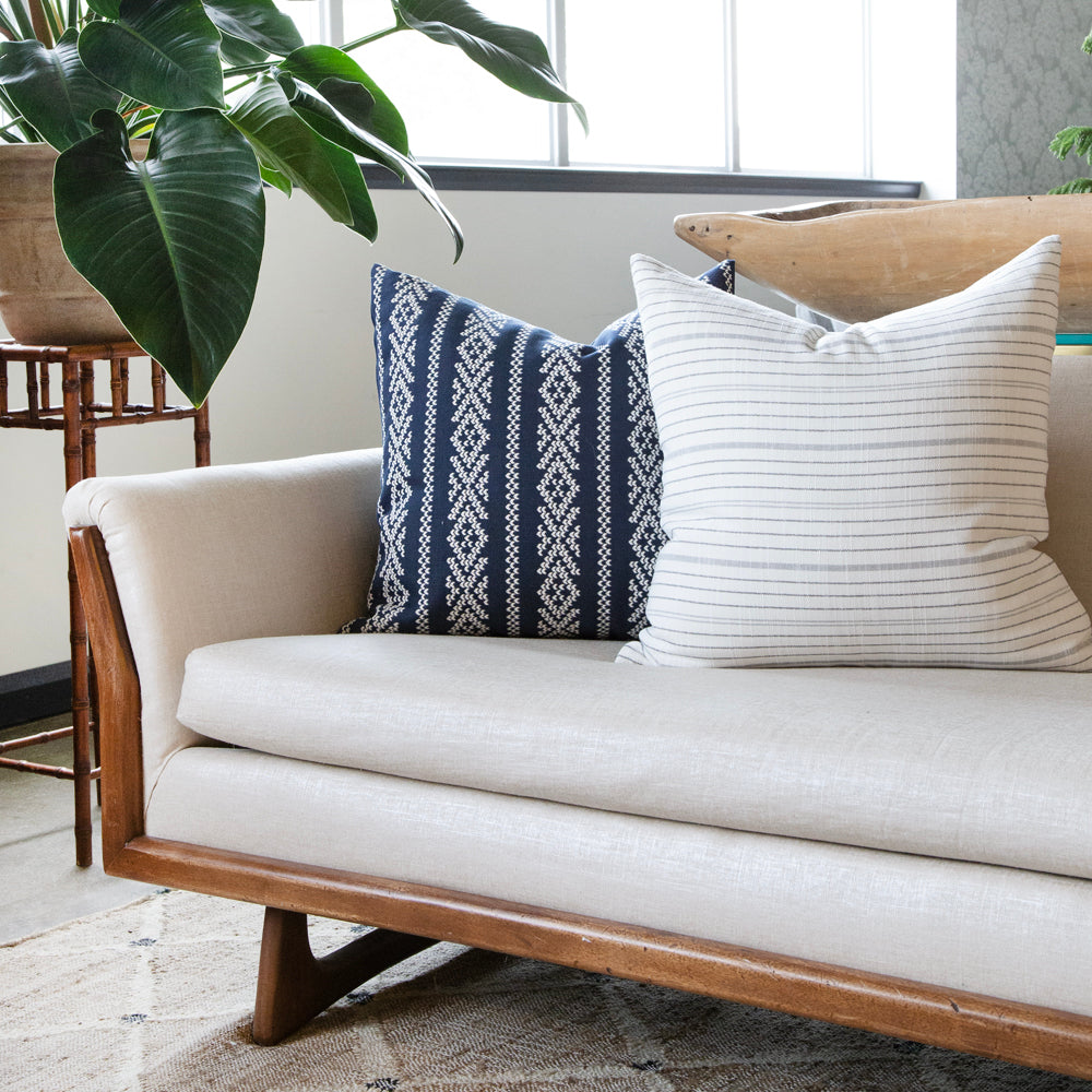 blue and white cross stitch scandi pillow from tonic living