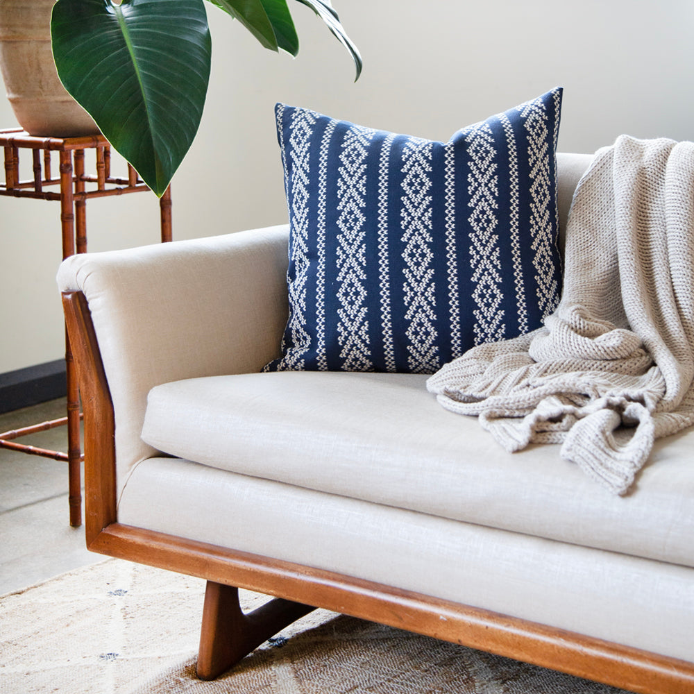 SCANDINAVIAN INSPIRED BLUE + WHITE TONIC LIVING PILLOWS