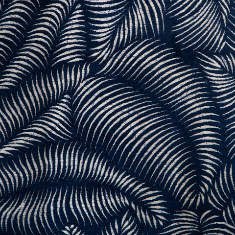 Kali, Lapis - A dramatic, cut velvet tropical leaf fabric in a rich, inky blue and cream.
