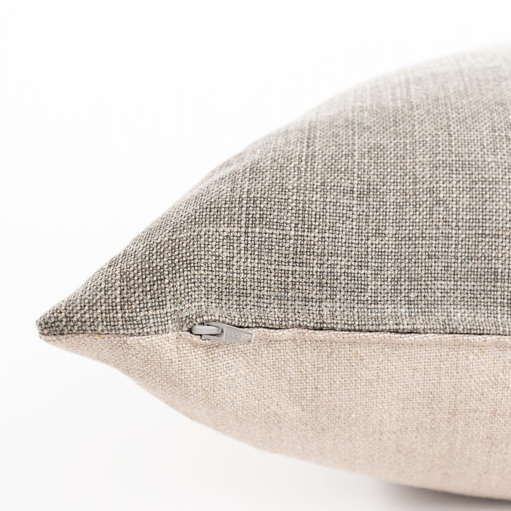 Kenmare Linen 24x24 Pillow, Marsh, a large, grey green neutral linen pillow from Tonic Living