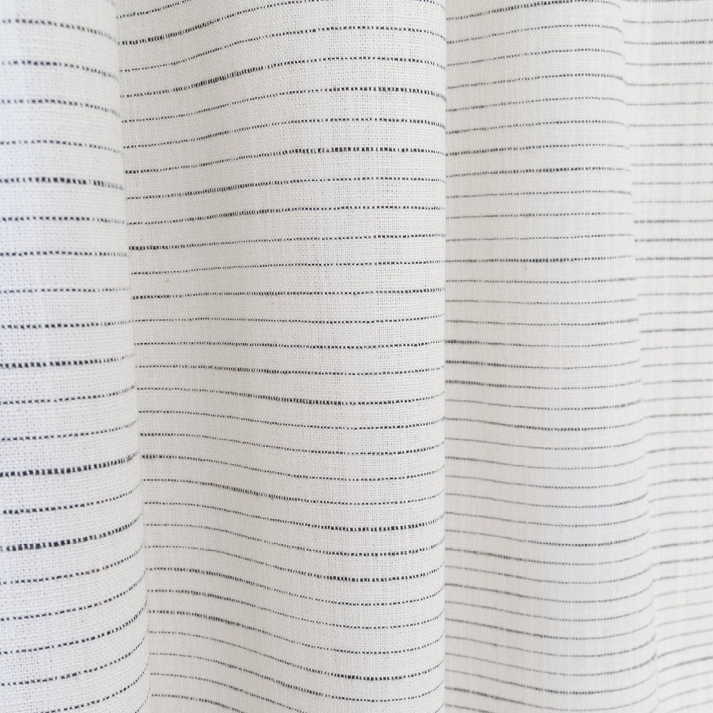 Lennon Fabric, Domino, a white with black stripe fabric from Tonic Living